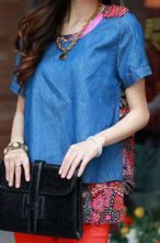 Denim Short Sleeve Blouse with Pink Chiffon Tribal Print Back