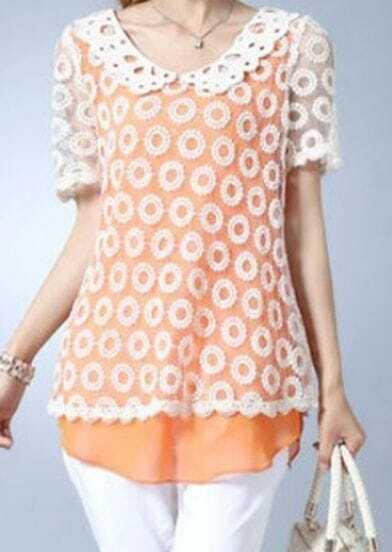 Orange Chiffon Tank Top with Crochet Dot Lace Layer Blouse