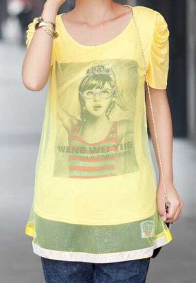 Yellow Girl Print Tulle Layer Ruched Short Sleeve T-shirt