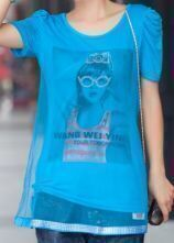 Blue Girl Print Tulle Layer Ruched Short Sleeve T-shirt