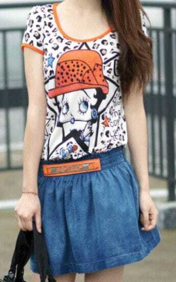 Leopard Cartoon Print Elastic Waist Short Sleeve Denim Dress