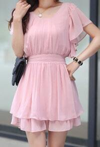 Pink Ruffle Short Sleeve Elastic Waist Pleated Chiffon Dress
