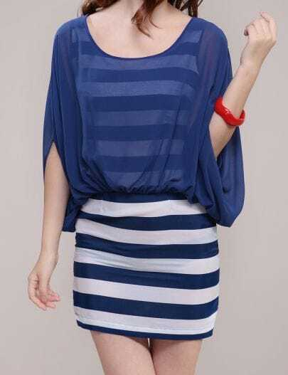 Blue and White Stripe Batwing Sleeve Two Pieces Dress
