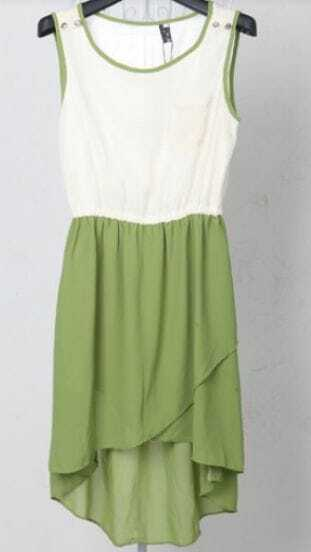 Green and White Sleeveless Split High-low Dress With Pocket