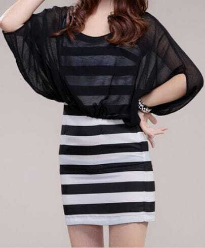 Black and White Stripe Batwing Sleeve Two Pieces Dress