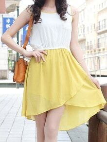 Yellow and White Sleeveless Split High-low Dress With Pocket