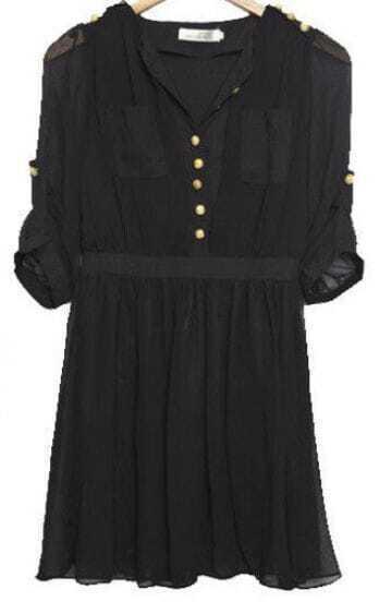 Black Placket Button Collarless Half Sleeve Chiffon Pleated Dress
