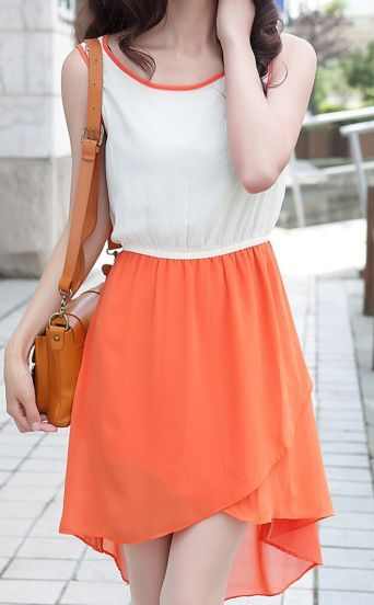 Orange and White Sleeveless Split High-low Dress With Pocket