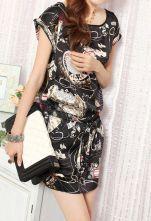 Black Tribal Print Drawstring Waist Roll Short Sleeve Chiffon Dress With Pocket
