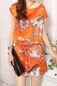 Orange Tribal Print Drawstring Waist Roll Short Sleeve Chiffon Dress With Pocket