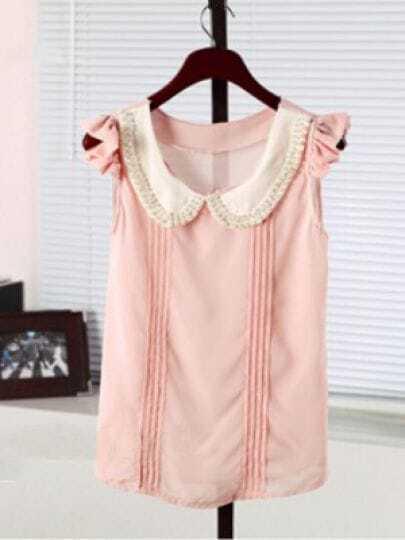 Pink Pearls Peter Pan collar Frill Cap Sleeve Pintuck Shirt