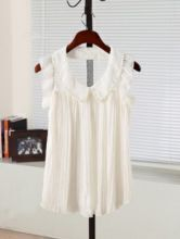 White Frill Sleeve Pearls Pleated Chiffon Lace Back Blouse