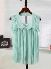 Green Frill Sleeve Pearls Pleated Chiffon Lace Back Blouse