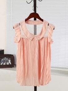 Pink Frill Sleeve Pearls Pleated Chiffon Lace Back Blouse