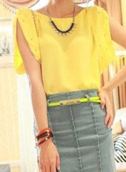 Yellow Pearls Embellished Split Sleeve Chiffon Tie Back Blouse