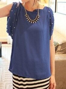 Blue Pearls Embellished Split Sleeve Chiffon Tie Back Blouse
