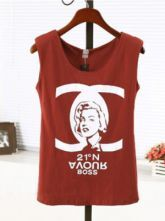 Red Shoulder Pad Sleeveless Double C Print T-Shirt