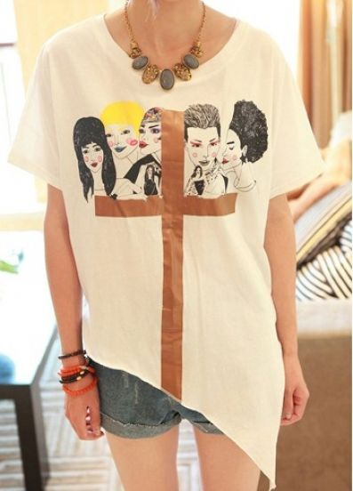 White Short Sleeve Womens Cross Print Cotton Asymmetric Hem T-Shirt
