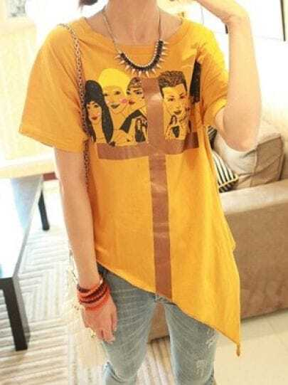 Yellow Short Sleeve Womens Cross Print Cotton Asymmetric Hem T-Shirt