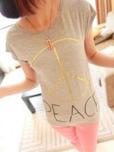 Grey Round Neck Cap Sleeve PEACE Sign Print Modal T-Shirt
