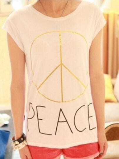 White Round Neck Cap Sleeve PEACE Sign Print Modal T-Shirt