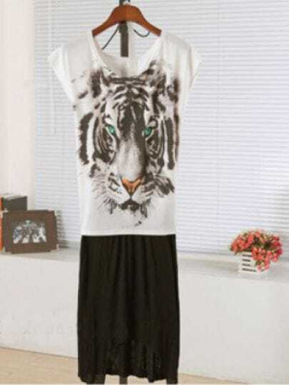 White And Black Round Neck Short Sleeve Tiger Print Dress