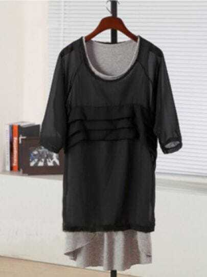 Black Round Neck Short Sleeve Asymmetrical Two Pieces Chiffon Dress