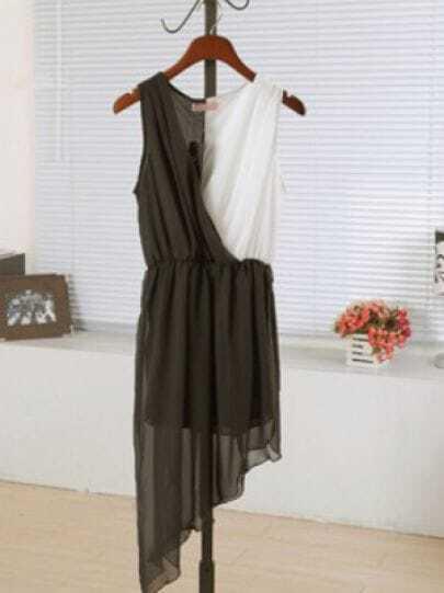 White And Black Round Neck Sleeveless Asymmetrical Dress