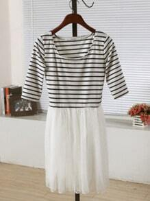 White Round Neck Half Sleeve Striped Pleated Mesh Yoke Dress