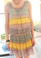Yellow Vintage Round Neck Short Sleeve Striped Pleated Elasic Waist Dress