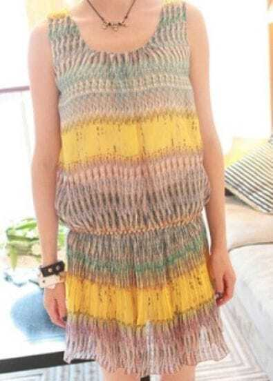 Yellow Vintage Round Neck Short Sleeve Striped Pleated Elasic Waist Dress