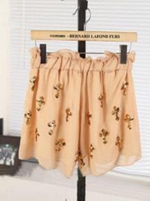 Khaki Casual Elasic Waist Sequined Shorts