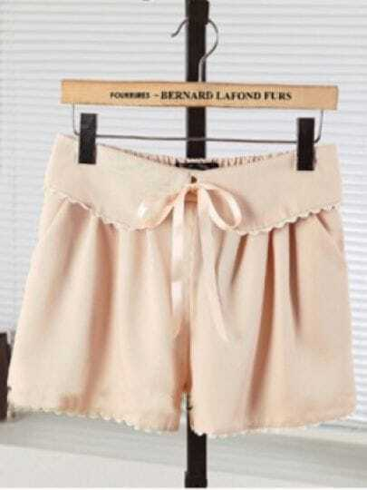 Beige Casual Mid Drawstring Waist Bow Ruffles Shorts