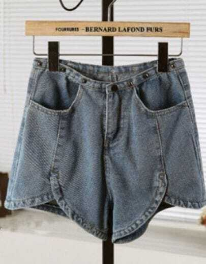 Blue Vintage High Waist Rivet Denim Shorts