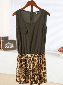 Black Round Neck Sleeveless Leopard Dress