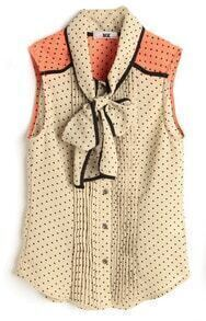 Apricot Polka Pussy Bow Sleeveless Chiffon Pleated Blouse