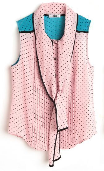 Pink Polka Pussy Bow Sleeveless Chiffon Pleated Blouse