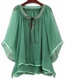 Green Polka Dot Chiffon Flare Sleeve and Hem Studded Blouse