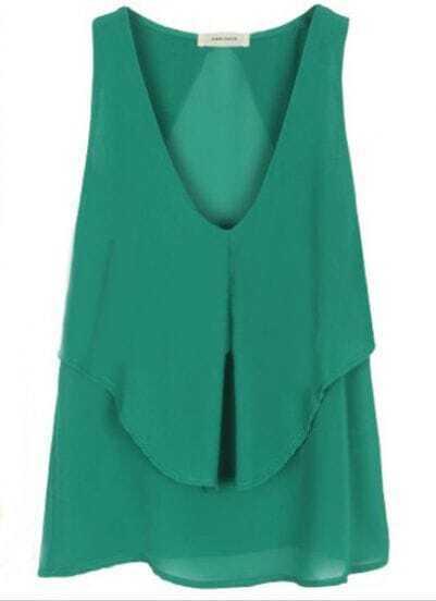 Green V-neck Cape Collar Sleeveless Chiffon Blouse
