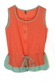 Orange Sleeveless Contrast Hem Chiffon Drawstring Blouse