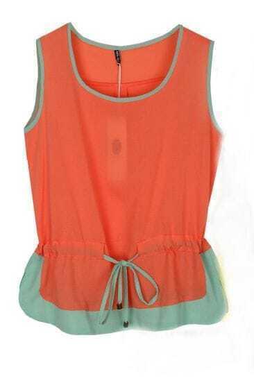 Orange Sleeveless Contrast Hem Chiffon Drawstring Blouse
