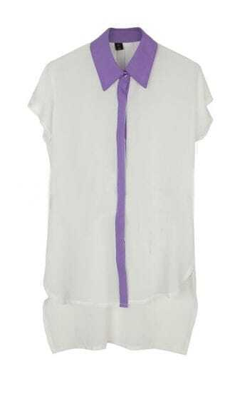 White Short Sleeve Contrast Collar and Placket High-low Chiffon Blouse