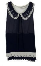 Black Eyelet Scallop Round Collar and Hem Sleeveless Chiffon Blouse