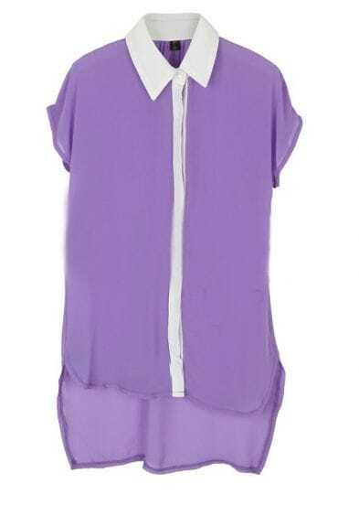 Purple Short Sleeve Contrast Collar and Placket High-low Chiffon Blouse