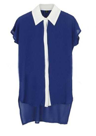 Navy Short Sleeve Contrast Collar and Placket High-low Chiffon Blouse