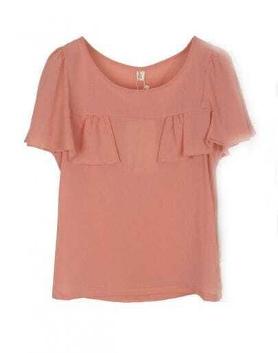 Pink Round Neck Ruffle Front Short Sleeve Chiffon Blouse