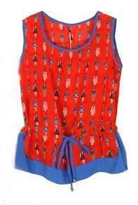 Red Fashion Lady Print Drawstring Contrast Hem Chiffon Blouse