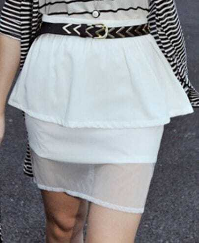 White High Waist Chiffon Patched Tiered Skirt With Wave Hem