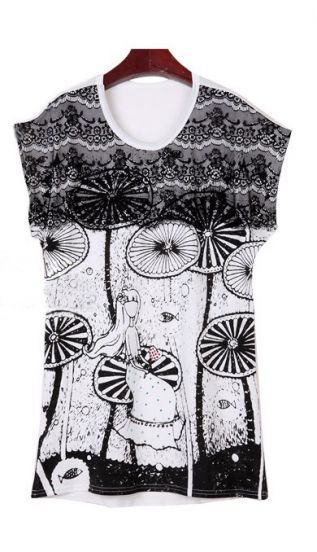 White Lotus Studded Girl Print Lace panel Short Sleeve T-shirt