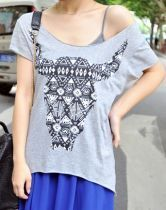 Grey Geo Bull Head Print Short Sleeve T-shirt